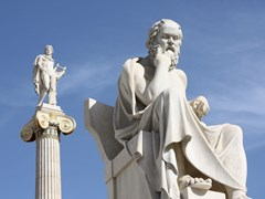 11_Neoclassical-statues-of-Socrates-(ancient-Greek-philosopher)-and-Apollo-(god-of-the-sun,-medicine-and-the-arts)-in-front-of-the-Academy-of-Athens,-Greece