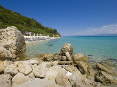 Athitos or Afitos (Afytos) beach on the northeastern side of the Kassandra peninsula in Halkidiki, Greece
