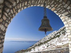 Bell-at-Church-of-Intercession-on-Mount-Athos,-Holy-Mountain,-Greece