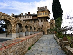 Greek-Monastery-on-Mount-Athos,-Chalkidiki,-Greece--6