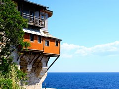 Monastery-Xenofontos-on-Mount-Athos,-Chalkidiki,-Greece-(2)