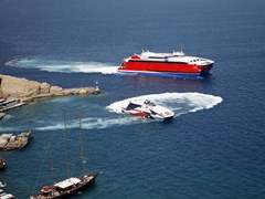 37_Santorini-Two-large-catamarans-among-the-pleasure-boats-at-Athinios-Port,-Santorini